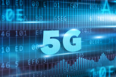 5G Concept. With blue background blue text Stock Images
