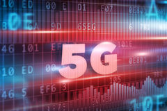 5G Concept. With blue background blue text Stock Photo