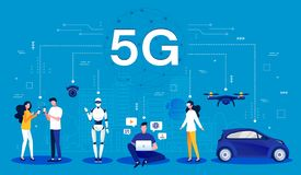 5G concept. Cartoon infographic of a 5G wireless network using mobile wireless technology for faster connectivity with vector illustration