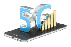 5G concept, 3D rendering. On white background Royalty Free Stock Photo
