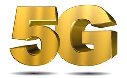 5G Concept. A 5G sign with golden letters royalty free illustration
