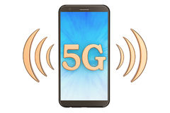 5G concept with phone, 3D rendering. Isolated on white background Stock Photos