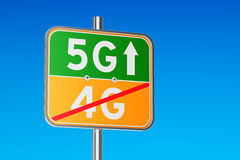 5G concept, road sign with inscription. 3D rendering. 5G concept, signpost with inscription. 3D Stock Images