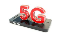 5G concept. 5G on the smartphone concept 3D illustration Royalty Free Stock Photos