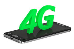 4G concept with smartphone. Isolated on white background Stock Illustration