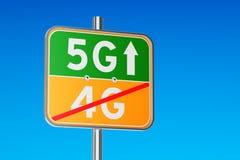 5G concept, verkeersteken met inschrijving het 3d teruggeven Stock Afbeeldingen