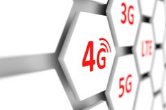 4G conceptual. Cell blurred background 3D illustration Royalty Free Stock Image