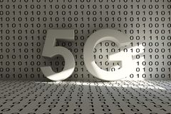 5G conceptual room. 5G room binary code concept 3D illustration Royalty Free Stock Photography