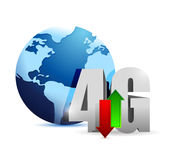 4g connection around the globe. illustration. Design over white Stock Images