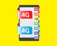 4G connection colors feature. Vector illustration Stock Images