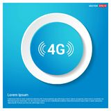 4G connection icon Abstract Blue Web Sticker Button. Free vector icon stock illustration