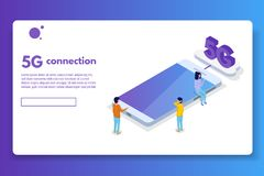 5G connection isometric concept. Telecommunications technology. Vector illustration vector illustration