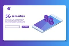 5G connection isometric concept. Telecommunications technology. Vector illustration royalty free illustration