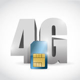 4G connection and sim card illustration design. Over a white background Royalty Free Stock Image