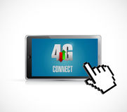 4g connection on a tablet and cursor. Illustration design over white stock illustration