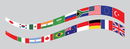 G20 countries flags or flags of the world. (economic G20 countries flag) illustration . easy to modify Stock Image