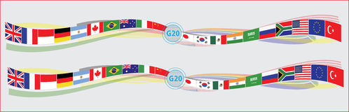 G20 countries flags or flags of the world  element design Royalty Free Stock Photo