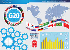 G20 countries flags or flags of the world  element design Royalty Free Stock Photos