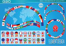 G20 countries flags or flags of the world  element design Royalty Free Stock Images
