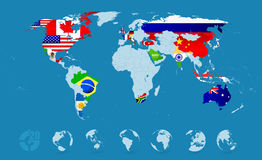 G20 Country Flags On Detailed World map Stock Photography