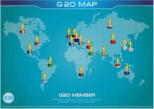 G20 country flags with dotted world map or flags of the world (economic G20 country flag) Stock Image