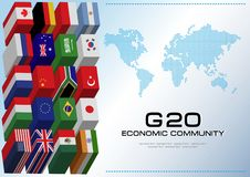 G20 country flags with dotted world map or flags of the world (economic G20 country flag) Royalty Free Stock Images