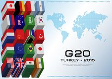 G20 country flags with dotted world map or flags of the world (economic G20 country flag) Stock Photo