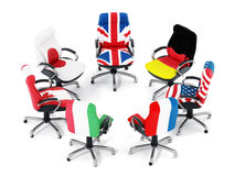 G7 country flags on office chairs Stock Photos