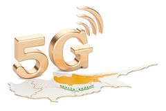 5G in Cyprus concept, 3D rendering. Isolated on white background Royalty Free Stock Images
