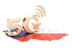 5G in Czech Republic concept, 3D rendering. Isolated on white background vector illustration