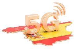 5G dans le concept de l'Espagne, rendu 3D Photos stock