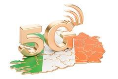 5G dans le concept de l'Irlande, rendu 3D illustration stock