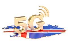 5G dans le concept de l'Islande, rendu 3D Photographie stock libre de droits