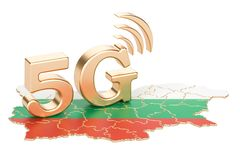 5G dans le concept de la Bulgarie, rendu 3D illustration de vecteur