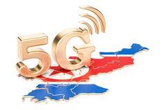 5G dans le concept de la Corée du Nord, rendu 3D illustration de vecteur