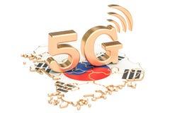 5G dans le concept de la Corée du Sud, rendu 3D illustration libre de droits
