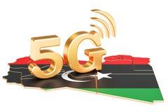 5G dans le concept de la Libye, rendu 3D illustration libre de droits