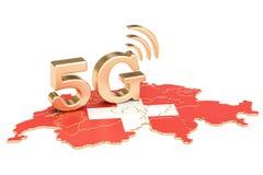 5G dans le concept de la Suisse, rendu 3D Image libre de droits