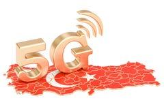 5G dans le concept de la Turquie, rendu 3D illustration libre de droits