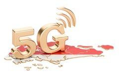 5G dans le concept de Singapour, rendu 3D Photos libres de droits