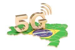5G dans le concept du Brésil, rendu 3D Photographie stock libre de droits