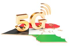 5G dans le concept du Kowéit, rendu 3D illustration libre de droits
