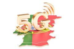 5G dans le concept du Portugal, rendu 3D Photos libres de droits