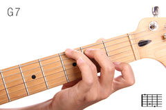 G dominant seventh guitar chord tutorial Royalty Free Stock Images