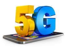 5G e smartphone Fotografia Stock Libera da Diritti