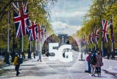 5G eller LTE-presentation London på bakgrunden Fotografering för Bildbyråer
