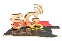 5G en el concepto de Angola, representación 3D Fotografía de archivo libre de regalías