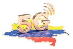 5G en el concepto de Colombia, representación 3D Fotos de archivo