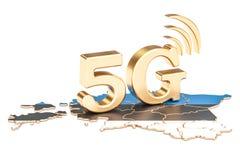 5G en el concepto de Estonia, representación 3D Foto de archivo libre de regalías