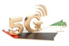 5G en el concepto de los UAE, representación 3D Imágenes de archivo libres de regalías